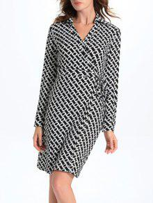 Buy Geometric Print Long Sleeve Midi Wrap Dress - WHITE AND BLACK L