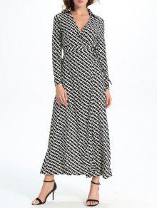 Geometric Print Maxi Wrap Long Sleeve Dress - White And Black 2xl