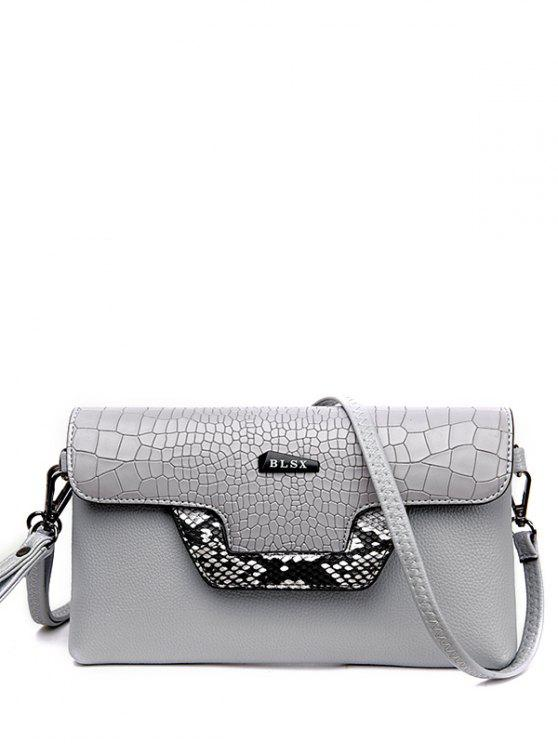 lady Crocodile Print Color Splicing Metal Crossbody Bag - LIGHT GRAY