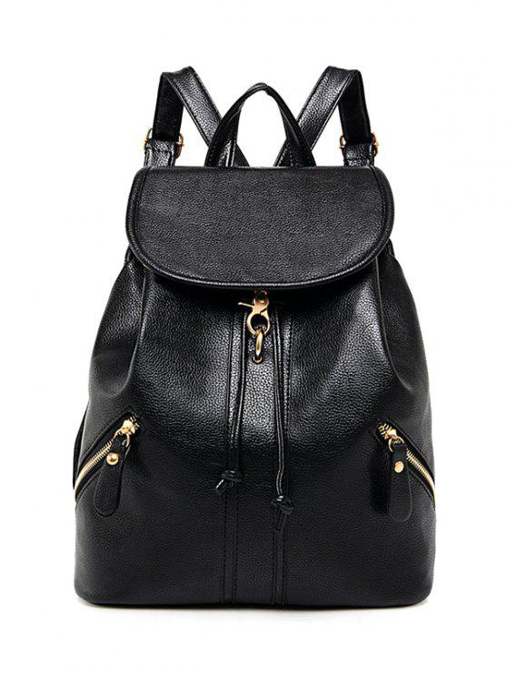 chic Zippers PU Leather Drawstring Backpack - BLACK