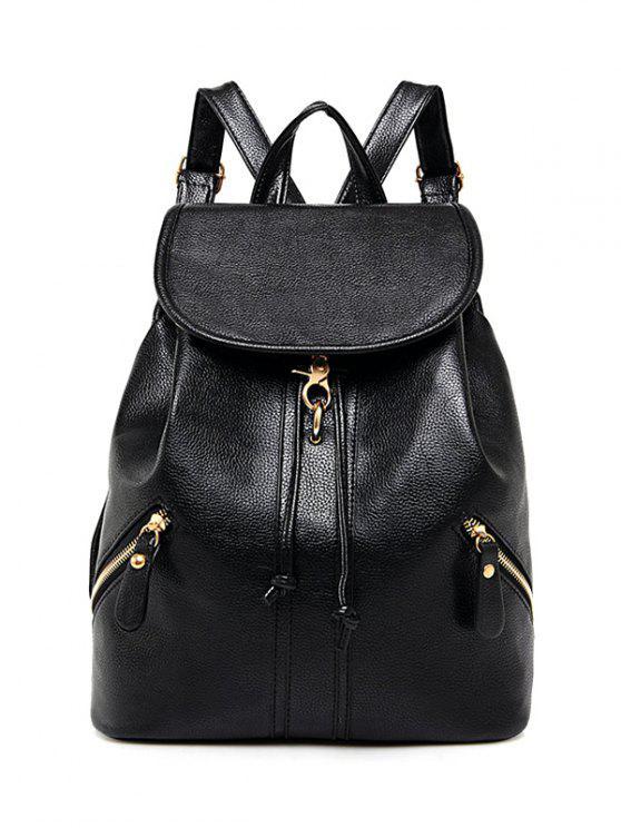 Zippers PU cuir Drawstring Backpack - Noir