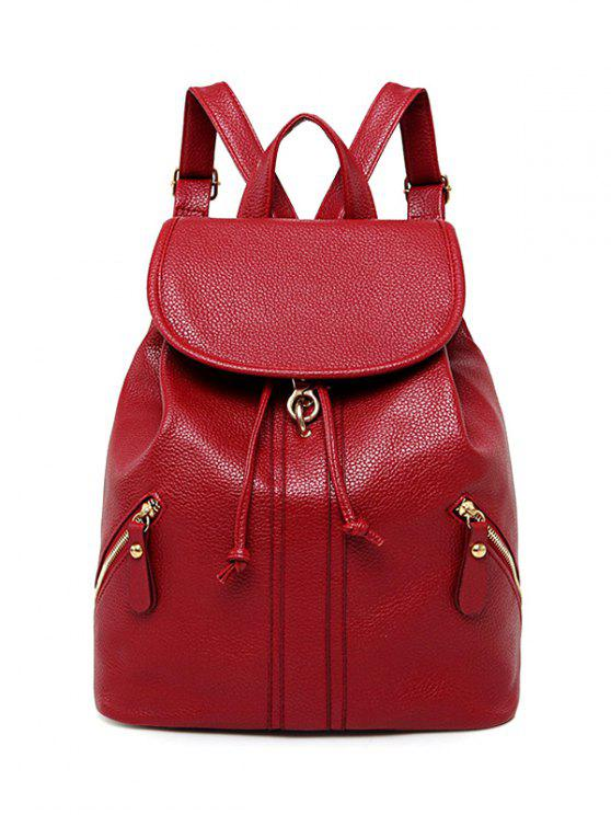 fancy Zippers PU Leather Drawstring Backpack - RED