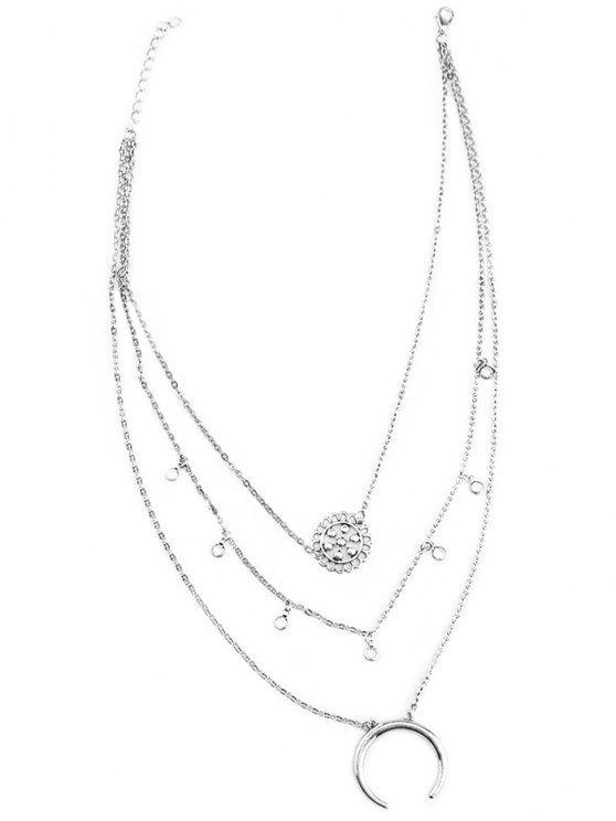 Múltiples capas de los granos de la flor de la aleación del collar del círculo - Plata