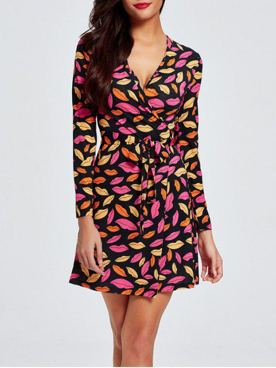 latest Plunge Neck Printed Wrap Dress - MULTI XL
