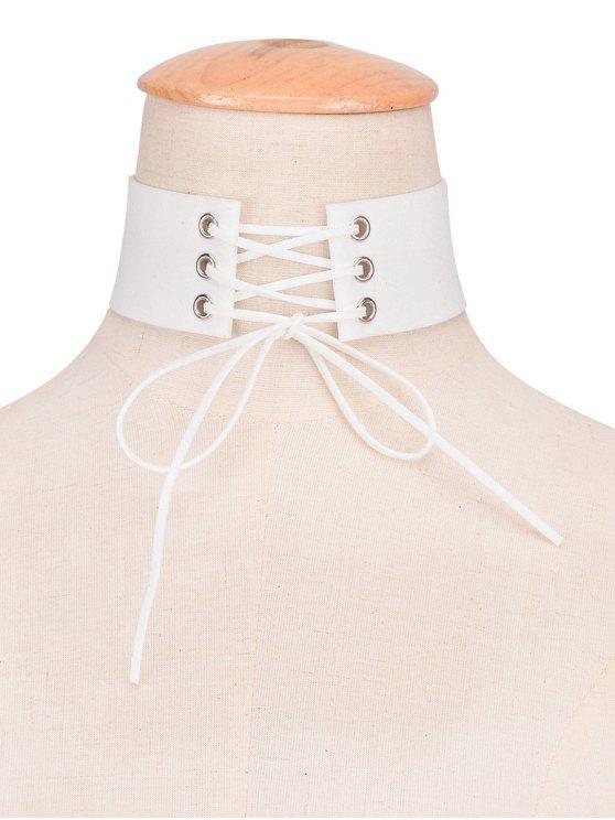 Tour de cou en faux cuir en velours avec noeud - Blanc