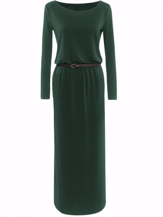 فستان قارب الرقبة مربوط - أخضر M