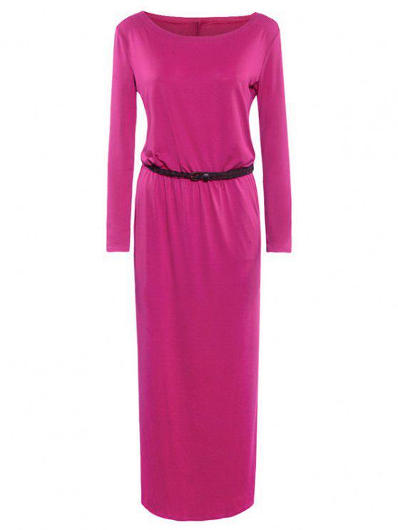 فستان قارب الرقبة مربوط - وردة حمراء XL