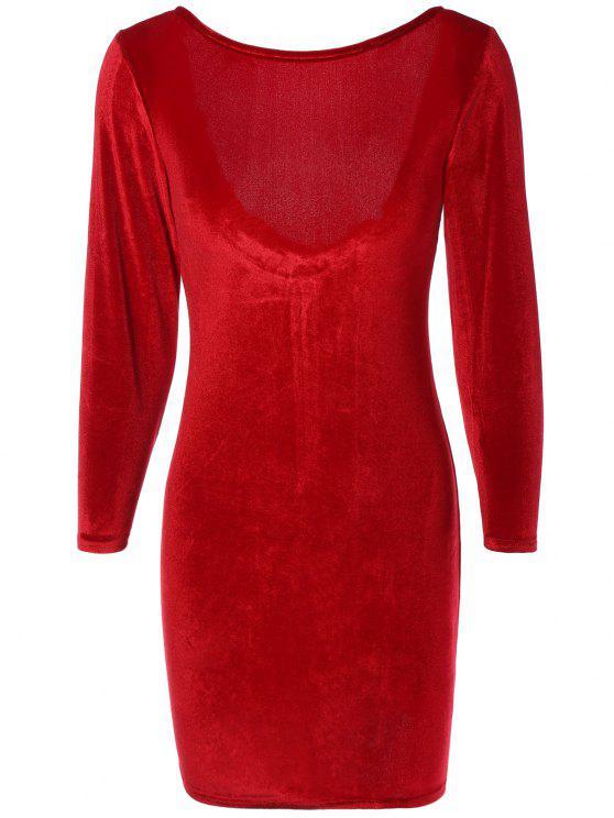 فستان ضيق بسحاب عارية الظهر - نبيذ أحمر L