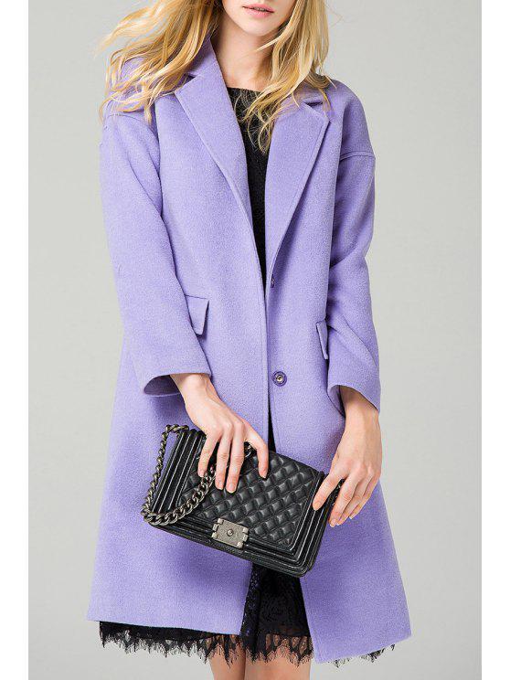 17e259e7e82 33% OFF  2019 Lapel Collar Wool Blend Coat In LIGHT PURPLE