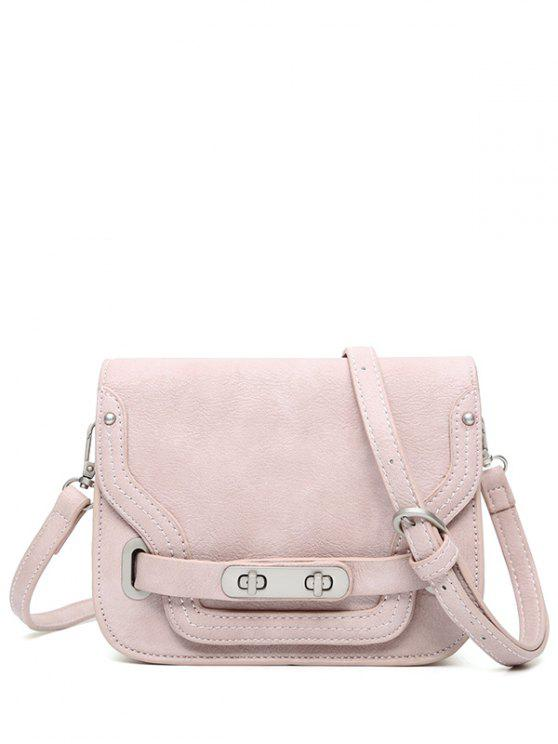 online Stitching Double Hasp Crossbody Bag - PINK