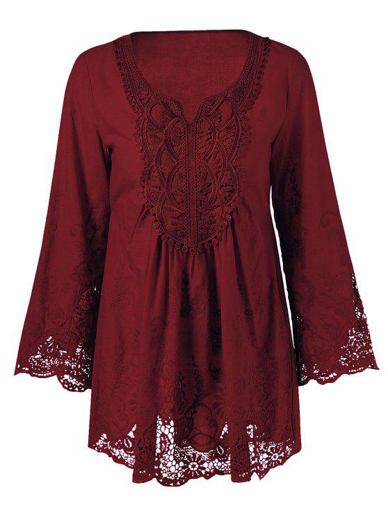affordable Lace Trim Tunic Blouse - WINE RED XL