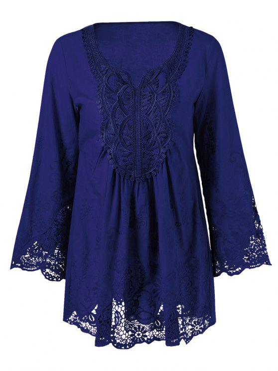 shops Lace Trim Tunic Blouse - DEEP BLUE XL