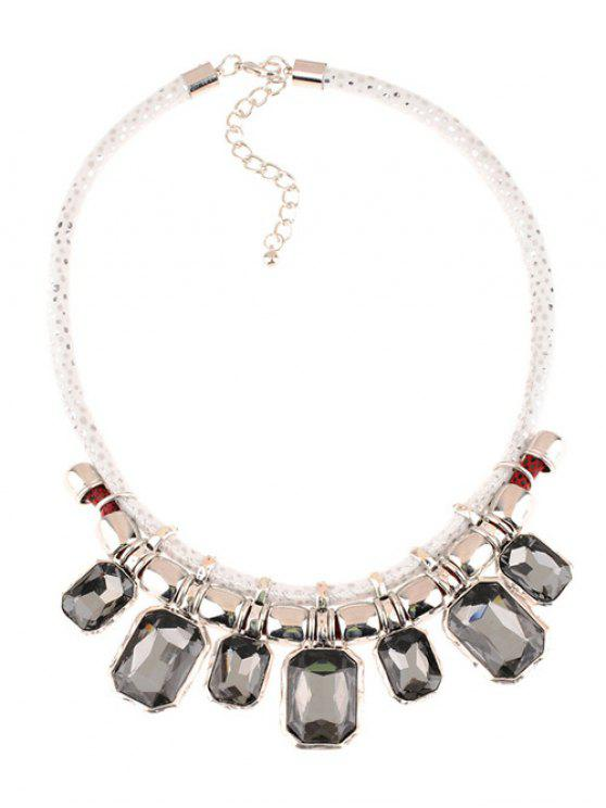 online Faux Crystal Leather Alloy Geometric Necklace - GRAY