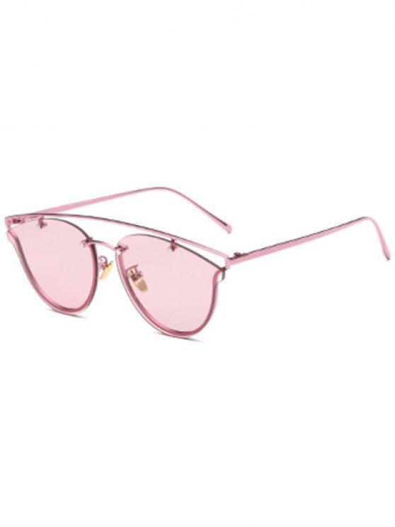 trendy Transparent Lens Crossbar Butterfly Sunglasses - PINK