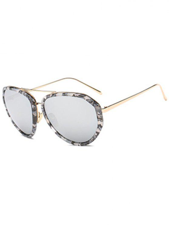women Oversized Marble Mirrored Sunglasses - GRAY