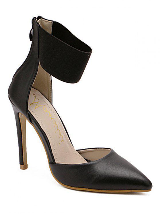 lady Elastic Band Stiletto Heel Pumps - BLACK 38