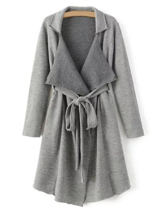 hot Lapel Belted Longline Cardigan - GRAY M