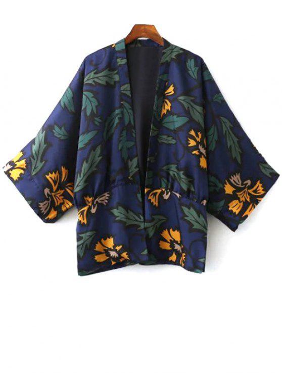 fancy Printed Kimono - BLUE S