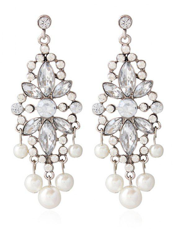 trendy Faux Pearl Rhinestoned Wedding Jewelry Earrings - SILVER