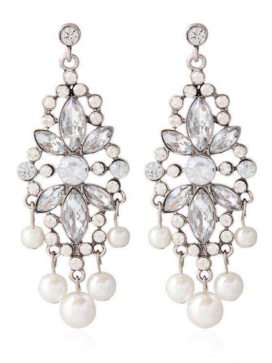 Pendientes de la joyería de la boda falsa perla Rhinestoned - Plata