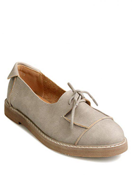 sale Preppy Lace-Up Flat Shoes - CAMEL 39