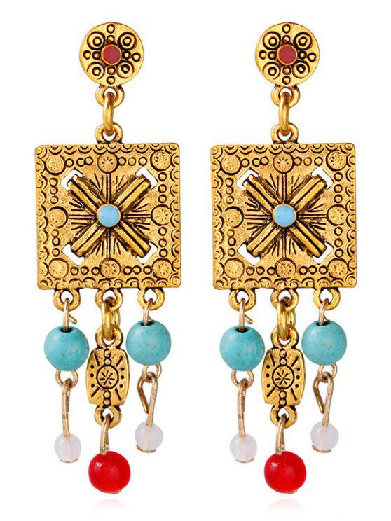 unique Engraved Floral Alloy Geometric Beads Earrings - GOLDEN
