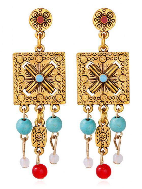 Boucles d'oreilles embellies perle géométrique gravées floral - Or