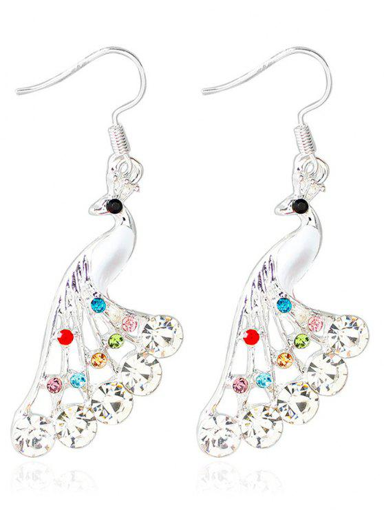 buy Rhinestone Peacock Drop Wedding Earrings Jewelry - WHITE