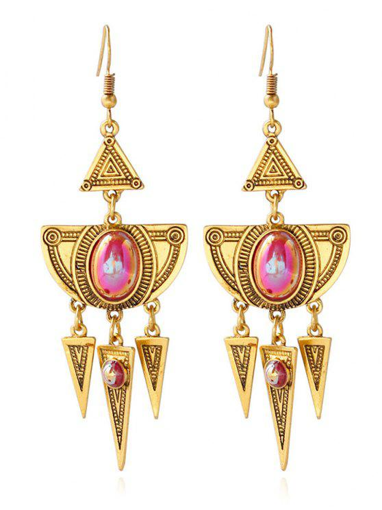 women Faux Crystal Layered Alloy Geometric Earrings - GOLDEN