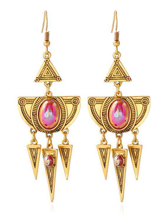 women Faux Crystal Layered Alloy Geometric Earrings - GOLDEN