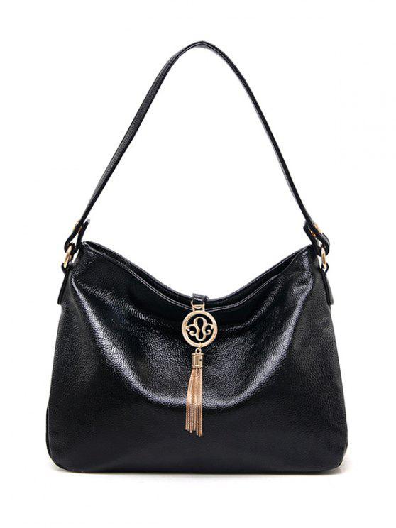 shop PU Leather Tassel Pendant Shoulder Bag - BLACK