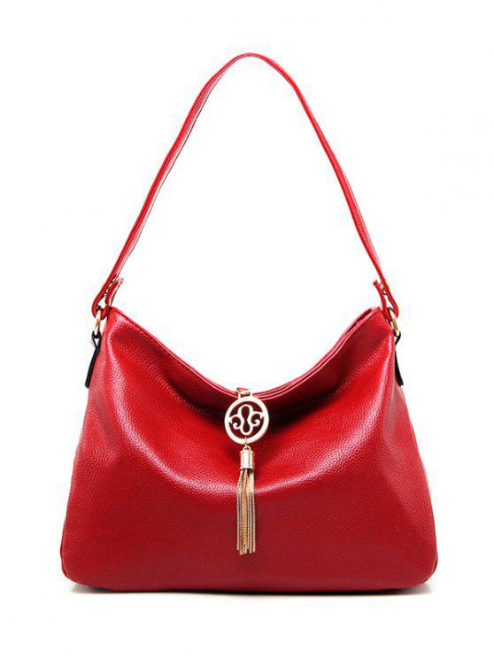 حقيبة الكتف بجلد صناعي شرابة - أحمر