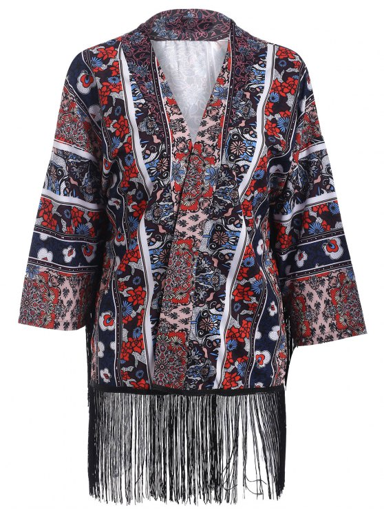 trendy Printed Fringed Kimono - COLORMIX M