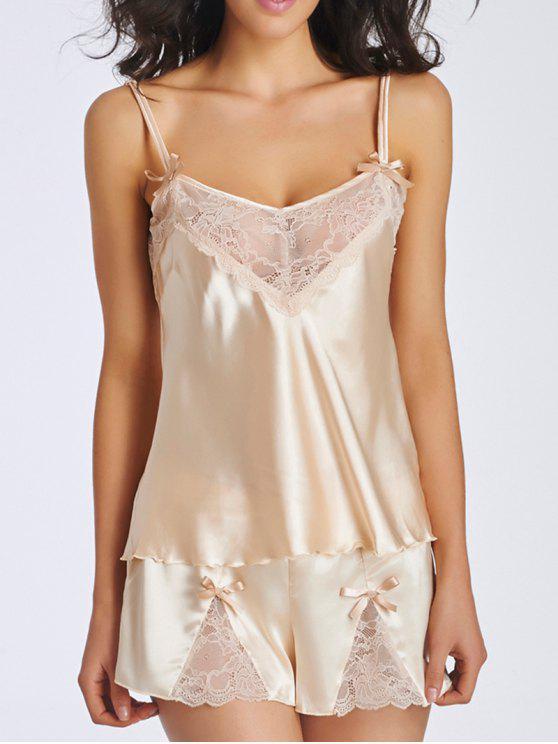 buy Lace Panel Spaghetti Strap Sleepwear - APRICOT 2XL