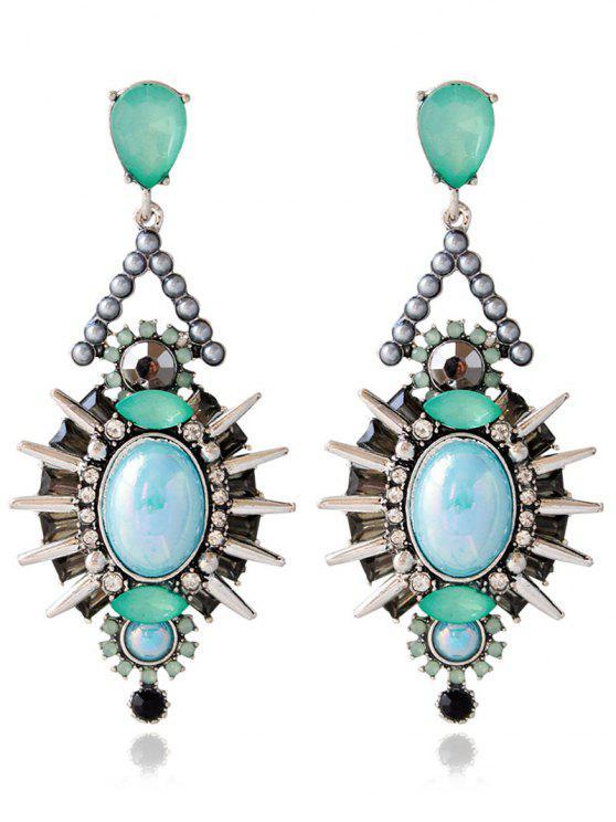 best Artificial Crystal Rivets Alloy Geometric Earrings - BLUE