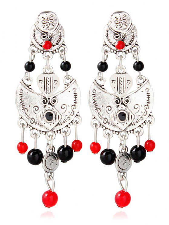 outfits Alloy Engraved Beaded Earrings - SILVER
