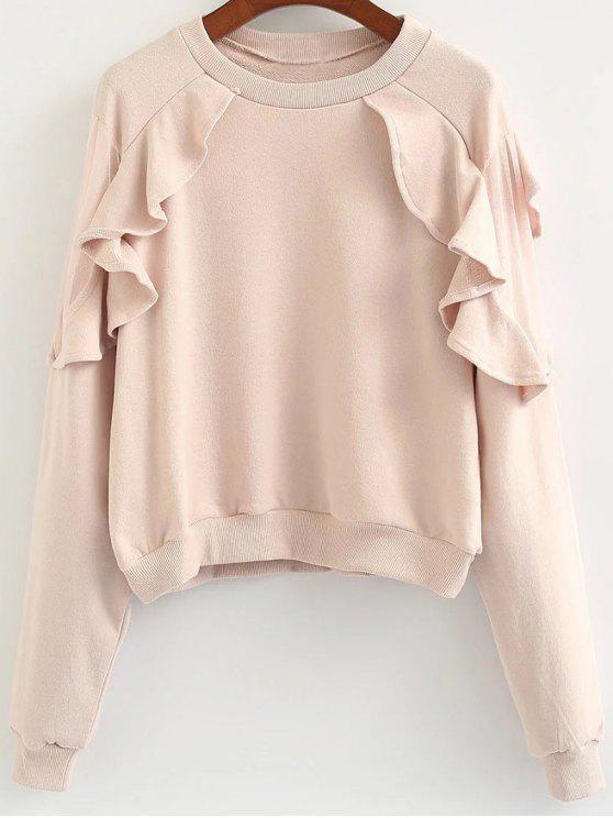 outfits Loose Flounce Ruffles Sweatshirt - PINK ONE SIZE