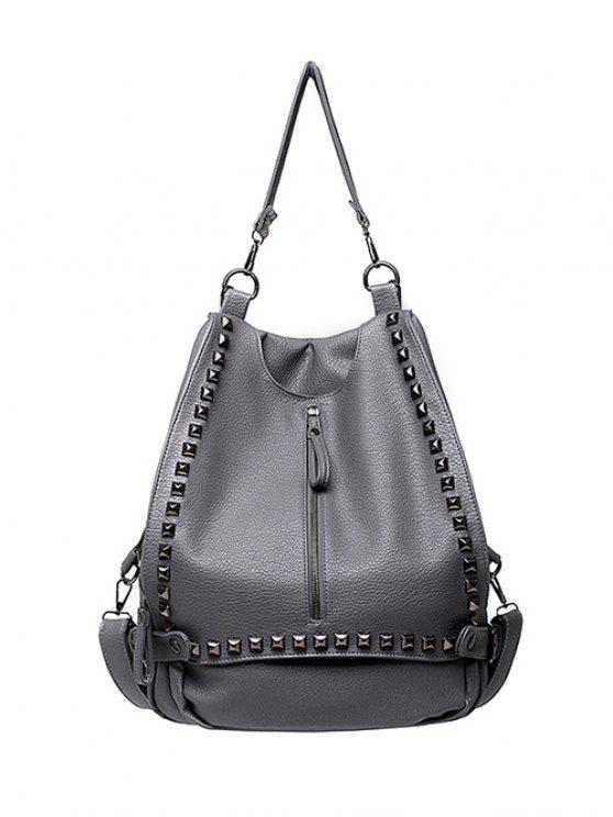new Buckles Zip Rivet Backpack - GRAY