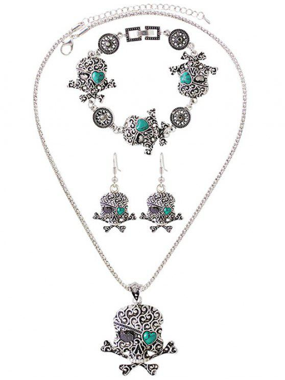 trendy Faux Turquoise Skull Heart Jewelry Set - SILVER