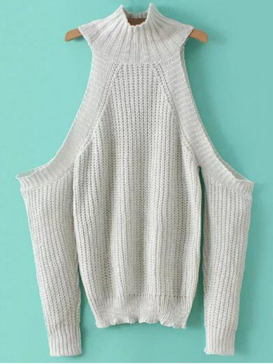 shops Stand Neck Cold Shoulder Sweater - WHITE ONE SIZE