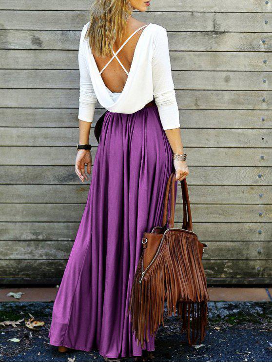 فستان ماكسي غارق الظهر - أرجواني XL
