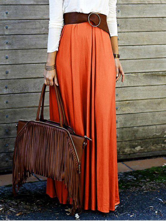 hot Solid Color High Waisted Long Skirt - ORANGE L