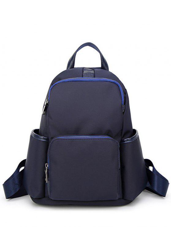 Casual PU emendado mochila de nylon - Azul