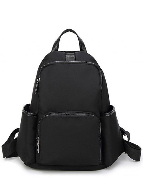 ladies Casual PU Spliced Nylon Backpack - BLACK
