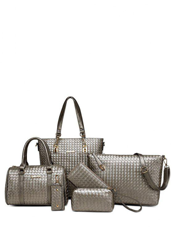 fancy Woven Pattern PU Leather Metal Shoulder Bag - GRAY