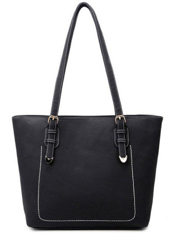 shop Stitching Buckles Textured PU Shoulder Bag - BLACK