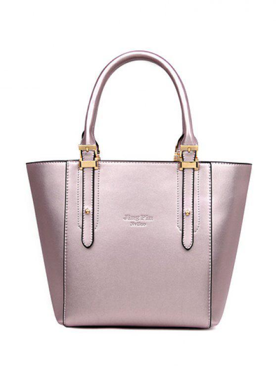 womens Buckles Metal PU Leather Tote Bag - LIGHT PURPLE