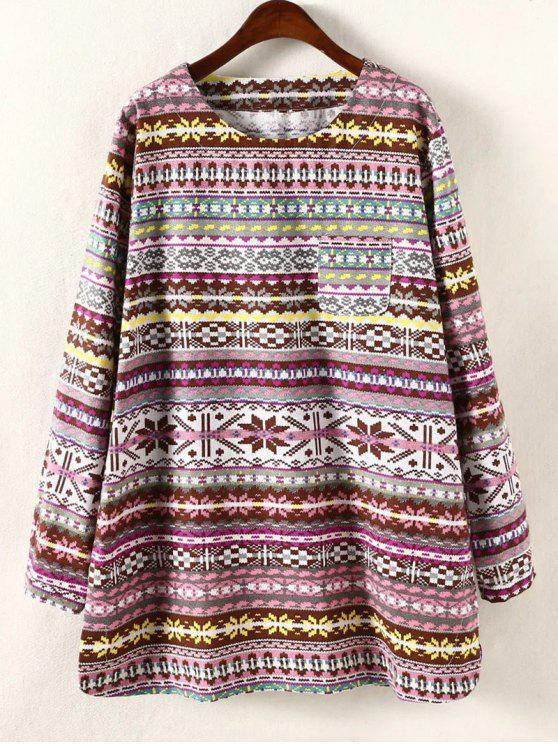 lady Plus Size Long Sleeve Dress - YELLOW 4XL