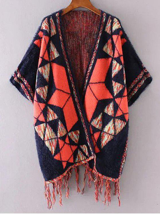chic Jacquard Knit Poncho Cardigan - PURPLISH BLUE ONE SIZE