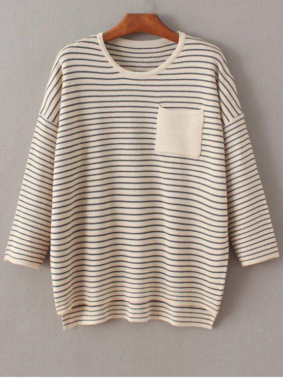 Rayas caída del hombro de la manga del suéter - Blancuzco Única Talla